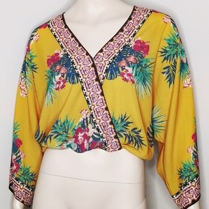 Flying Tomato Tropical Print Wrap Blouse